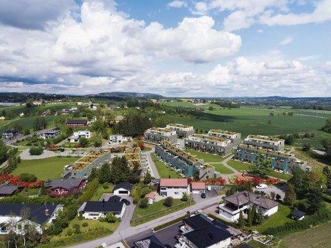 Landlig: Slik ser Block Watne for seg at boligprosjektet Havretoppen på Kjeller skal se ut.