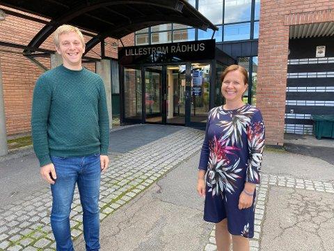 SØK!: Varaordfører Thor Christian Grosås og næringssjef Maria Hoff i Lillestrøm kommune har korona-midler til næringslivet.