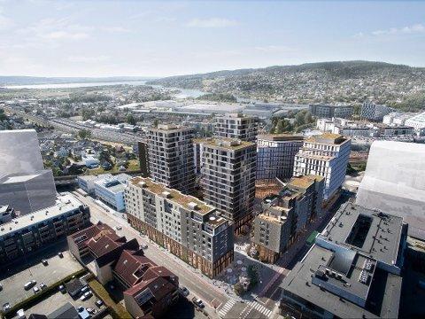 MEIERIKVARTALET: Prosjektet består av 350 leiligheter, butikker og spisesteder, hotell og kontorlokaler.