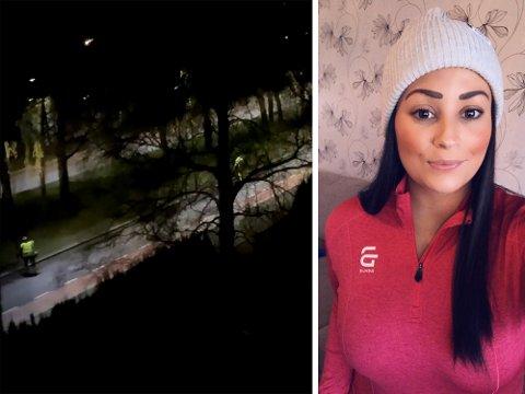FILMET STØYENDE ARBEID: Tina Cassandra Stenshjemmet tok en video av kommunens ansatte, som klokka 02.30 holdt på med veiarbeid. Se videoen litt lenger ned i saken.