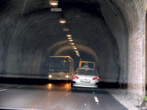 Det er nå ledebil gjennom Rørvikskartunnellen. Foto: Arkiv
