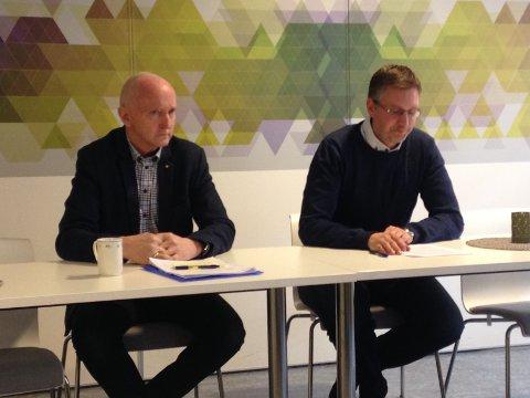 Nyvalgt daglig leder Søren Fredrik Voie (tv) og styreleder Håvard Horn i Vestvågøy Næringsforum.