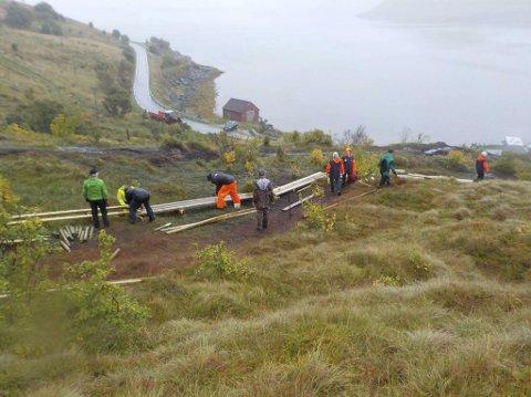 Ivrig gjeng: På to søndager er over hundre meter med klopper lagt. Foto: SALT