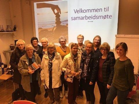 På samarbeidsmøte: Bak fra venstre: Anne-Lise Husebø og Anita Ellingsen (Stoffskifteforeningen), Karla Juliussen (Mental Helse), Ing-Wenche Andreassen (MS-forbundet), Tove Lorentzen (Brystkreftforeningen), Stine Endresen (Diabetesforbundet). Foran fra venstre: May Jacobsen (Hørselshemmedes Landsforbund), Bodil Hansen (Brystkreftforeningen), Skjalvor Berg Larsen (Norges Parkinsonforbund), Karina Wiik (Diabetesforbundet), Randi Ingebrigtsen (Mental Helse og Stoffskifteforbundet), Elin Pladsen (LMS).