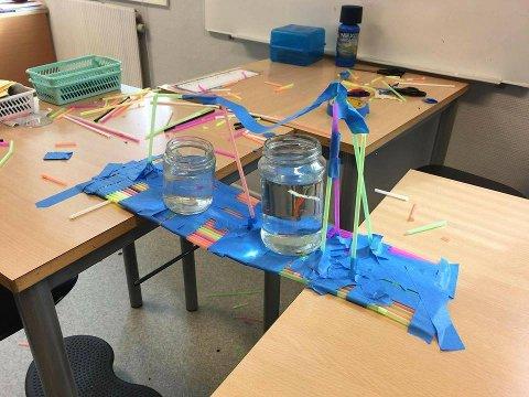 SUGERØR: En av oppgavene var å lage en bro av sugerør som skulle holde to glass med vann.