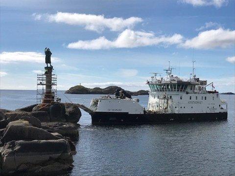 Utbedret: Fiskerkona har fått utbedringer som skal gjøre vedlikeholdet lettere av belysningen på skulpturen samt lanterna.