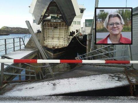 """Skadd: Det ble store skader da ferga """"Røst"""" kolliderte med kaia i Skrova i mars 2015. Ombord var Aino Ellingsen som ble skadd i kollisjonen."""