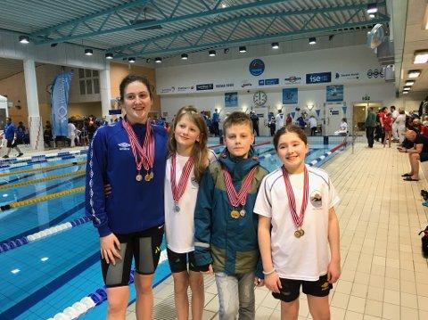 Svømmere: Ida-Helen Edvardsen, Inger Marie Olsen Kristiansen, Oskar Lind og Ane Løvberg gjorde det alle sterkt under helgas kretsmesterskap.