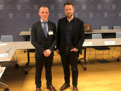 Ole Olsen i Sufi AS møtte næringsminister Torbjørn Røe Isaksen tirsdag morgen.