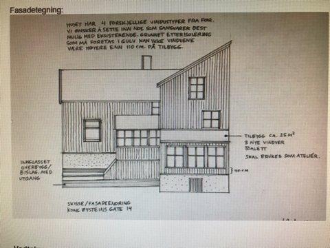 KABELVÅG: Slik tenker søkerne seg at det nye huset på eiendommen i Kong Øysteins gate 14 i Kabelvåg vil bli.