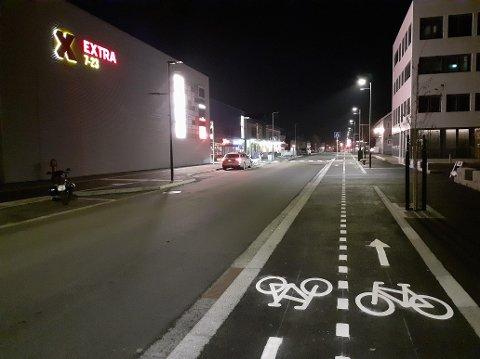 Nye Storgata på Leknes, rett etter åpningen i oktober.