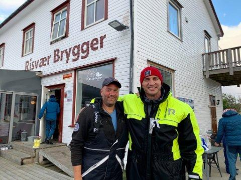 Tungvektsmester: Selv skipper Michael Reinholdtsen blir liten ved siden av 198 centimeter høye Vladimir Klitsjko.