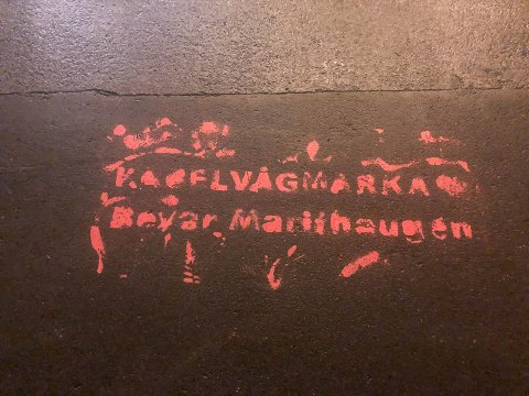 "Grafitti: Noen har spraymalt slagordet ""Kabelvågmarka. Bevar Marithaugen"" på gata rett utenfor trappa til rådhuset i Svolvær."
