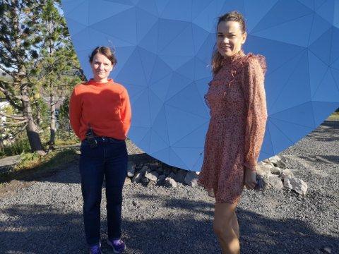 Kritisk: Langåsen komiteen, her ved Janna Thöle-Juul og Ieva Zule, stiller flere spørsmål ved planene om en større boligbygging ved Langåsen skulpturpark. Bildet er tatt i en annen anledning.