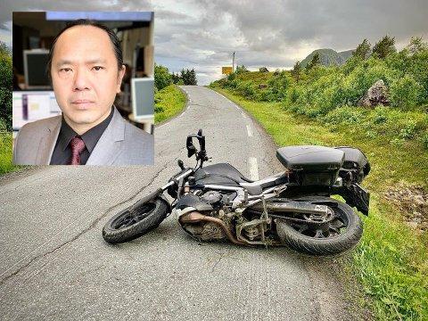 Ulykka skjedde på Offersøyveien, ikke langt fra Vestvågøy Asvo.