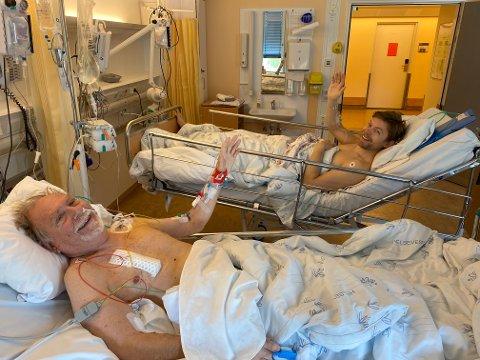 Arnt Morten Olsen (68) og Morten Andre Olsen (29) gjennomførte nyretransplantasjonen på Rikshospitalet.