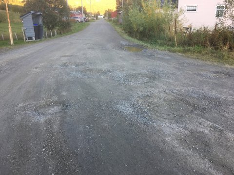 Dårlig stand: Grusveien til kirkegården i Sydalen er i dårlig forfatning.
