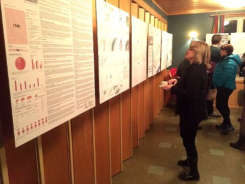 Presentasjon av planene for Fremtidens fiskevær under folkemøtet på U.L. Lysbøen.