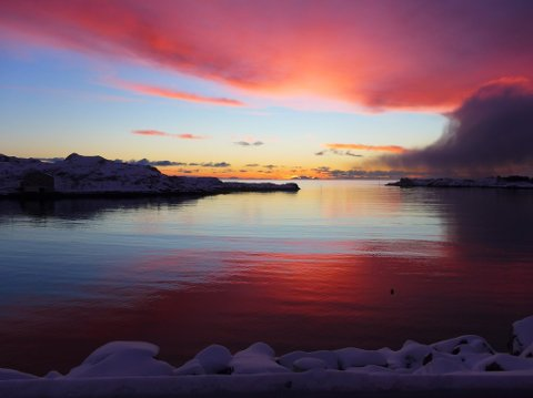 Like før soloppgang på Ballstad i dag, kl. 10.30, før snøværet satte inn