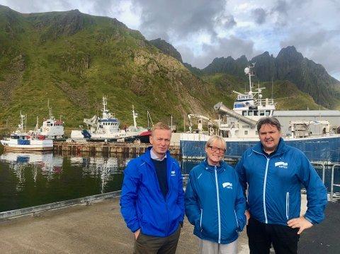 Helge Orten, Bente Anita Solås, og Jonny Finstad representerer partiet Høyre lokalt og nasjonalt. Her er de tre posisjonert i Ballstad havn.