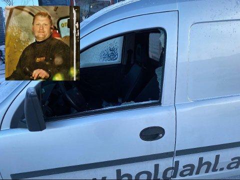 OPPGITT: Daglig leder Levi Holdahl (innfelt bilde) er oppgitt over at bedriften hans på nytt har hatt ubudne gjester. I helga ble en av bedriftens biler ramponert, blant annet.