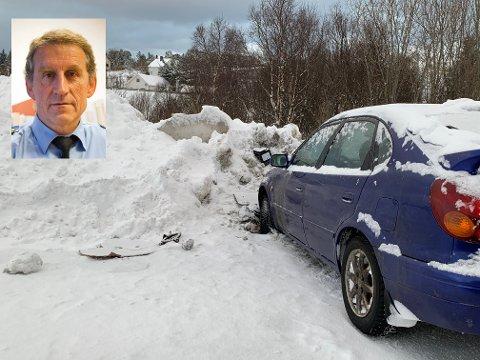Tirsdag morgen fikk politiet på Leknes melding om en bil som hadde kjørt seg fast i en snøskavl like ved Betel. Føreren er mistenkt for kjøring i ruspåvirket tilstand.  Innfelt lensmann Asbjørn Sjølie.