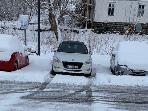 Bilen som er meldt stjålet.