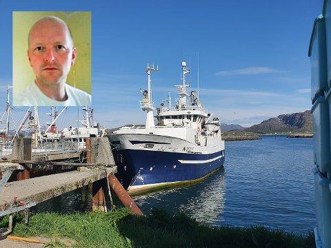 """Ole-Martin Arntsen (innfelt) og fire andre i mannskapet til """"Ida Amalie"""" fikk påvist korona og mistet siste del av skreisesongen i Lofoten."""
