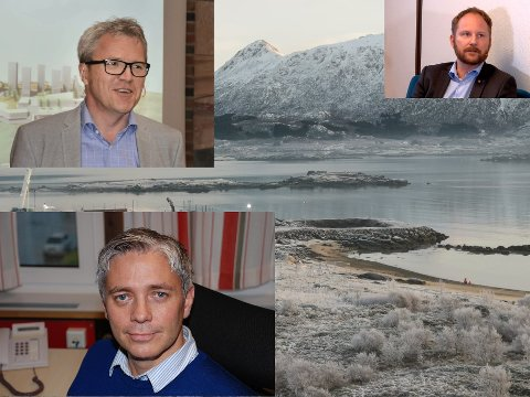 Jim Roger Nordly i STIM, ordfører Remi Solberg (Ap), Hans-Eirik Busch på Leknes, strandsonen på Storeidøy.