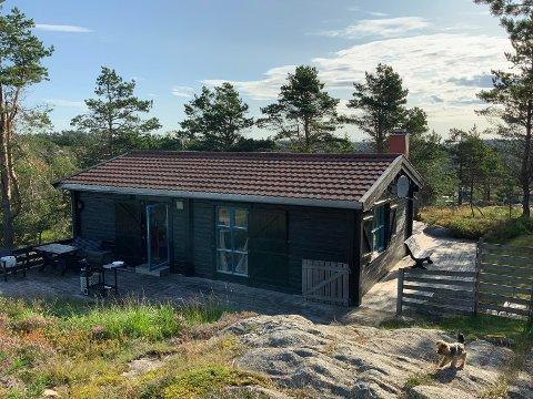 GIS BORT: Laftet hytte i Lyngdal fra 70-tallet gis bort.
