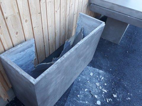 Bord og benker har fått gjennomgå på Nordre Ål skole. Dette er solide betongmøbler, som det må brukes mye kraft for å ødelegge.