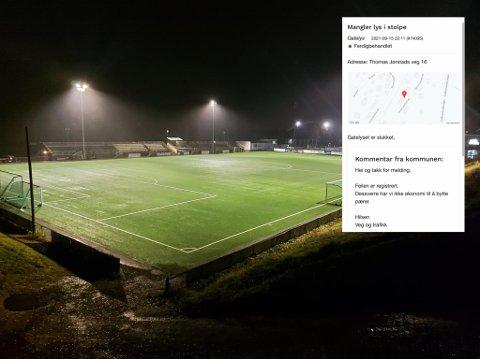 Det er paradoksalt at en etat i kommunen kan belyse en hel fotballbane nesten døgnet rundt mens flere lillehamringer bor i mørklagte gater, mener Dag Vevang.