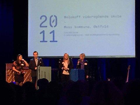 Malakoff-representatene holdt et innlegg under torsdagens konferanse i Oslo. Fra venstre ser vi elev Mina Lin Vinje, tidligere elev Sindre Lysø, elevrådsleder Julie Helene Günther og rektor Bente Lis Larsen.