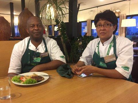 Skremt: Marche-kokkene Roy Richard Yard og Lucette Vaillant kom på jobb bare minutter før skytingen. De er skremt og sier de føler seg uttrygge.