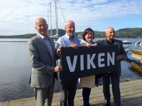 VIKEN: Skal dette bli navnet på den nye fylkeskommunen?. F.v. Fylkesordførerne Rune Hogsnes fra Vestfold, Ole Haabeth fra Østfold. Anette Solli fra Akershus og Roger Ryberg fra Buskerud.