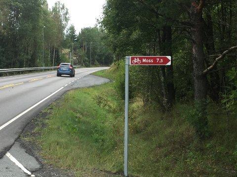 ENKELT, MEN GODT: Skiltet som viser vei for syklende mot Moss.