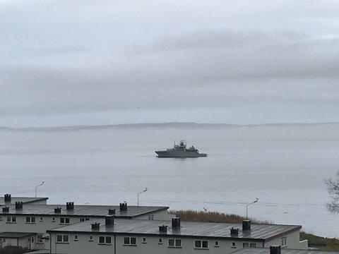 KV Nornen i fjorden utenfor Refsnes på Jeløy.