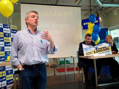 Ryanair-sjef Michael O'Leary kom med overraskende uttalelser om Rygge mandag. Her avbildet i 2013.