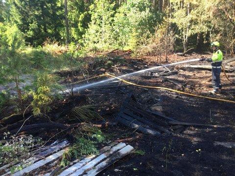 I ARBEID: Brannvesenet i Moss og Sarpsborg måtte rykke ut til skogbrann i Sogn mandag ettermiddag.