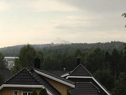 RØYK: Bildet er fra Våler. Røyken stiger opp fra et område i skogen i bakgrunnen.