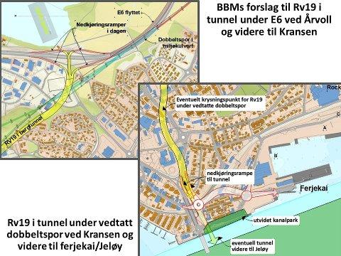 Detaljer av BBMs Rv19 forslag ved Kanalen og Årvoll