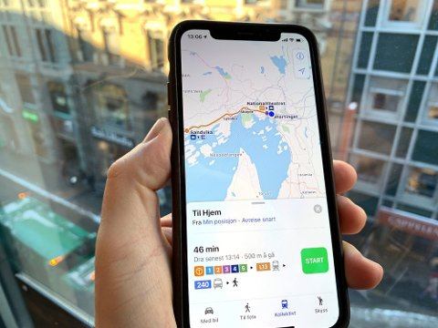 KOLLEKTIVTRAFIKK: Apples innebygde kartapp «Maps» gir nå oppdatert informasjon om kollektivtrafikk.