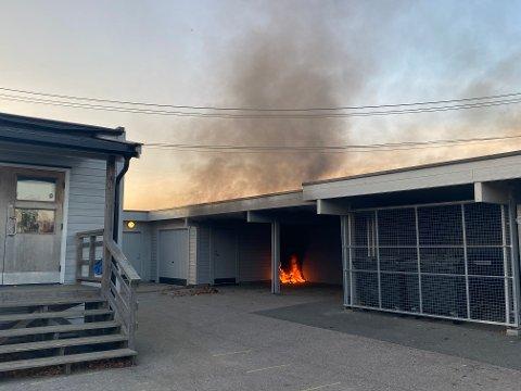 BRANN: Flammene rakk å utvikle seg noe før en nabo tok affære og slukket den med et brannslukningsapparat.
