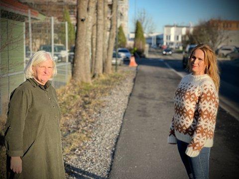 FRYKTER ULYKKE: Anne Karine Jarl Andersen (t.v.) og Tone Løyning Narvesen frykter en ulykke utenfor barnehagen.