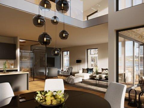 Slik kan stuen i leiligheten bli seende ut.