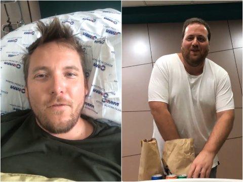 PÅ SYKEHUSET: Niklas Baarli (t.v.) har endelig blitt lagt inn på sykehus. Ronny Brede Aase holder han med selskap.