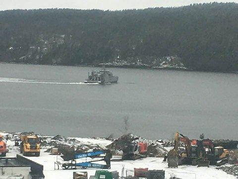 NATO's mineryddere er i aksjon i Oslofjorden, og i helgen var dette fartøyet på plass i Mossesundet.