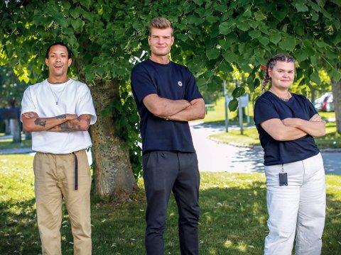 TRIO: Tete Lidbom (t.v.) og Sofie Johansen fikk besøk av Alexander Sørloth i Johansens første episode som programleder i «Heia Fotball».