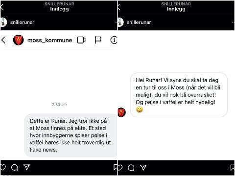 HUMORISTISKE INNLEGG: Dette Instagram-innlegget til «SnilleRunar» og svaret til Moss kommune startet spøken om Moss.