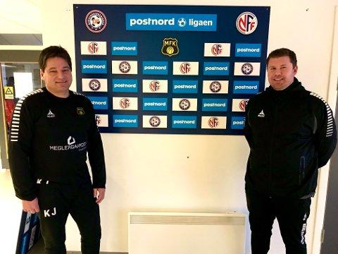 STOLTE: Både Kjetil Jensen (til venstre) og Eirik Amundsen er stolte  og ydmyke etter at Moss FK tilbød dem rollen som hjelpetrenere inntil ny hovedtrener er ansatt. Sammen med sportssjef Thomas Myhre styrer de nå A-lagstreningene i klubben.